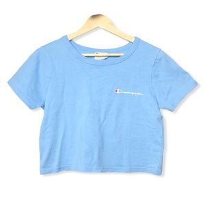 Champion Cotton Crop Top in Baby Blue | Small